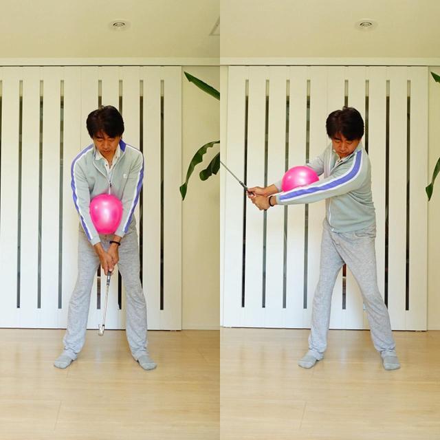 画像: 画像A ボールを挟んでワイドなテークバックをとっても部屋の大きさに制限することなく素振りができる