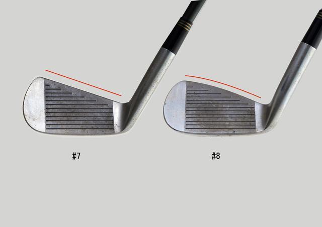 """画像: 写真01 ブリヂストンスポーツに保管されている""""J'sアイアン""""の形状マスター。7番のトップブレードは真っすぐ(左)、8番はウェッジのように丸みがある(右)"""