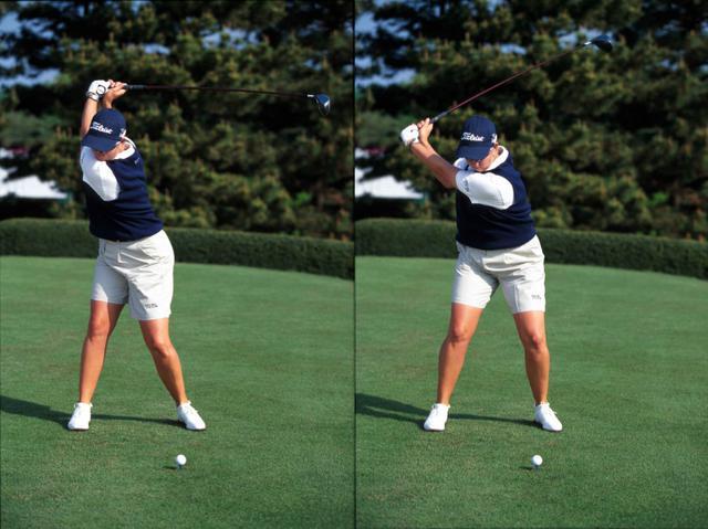 画像: 画像B トップからフェースを閉じながら切り返し、前傾角をキープしながらダウンスウィングに入る(右)