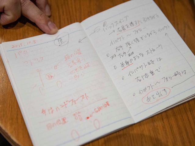 画像: 画像B:埼玉社会人アマ優勝の実績を持つ和田貴之さんのゴルフノート歴はまもなく20年。大事なところには赤字で目立たせて、常に意識するようにしているという