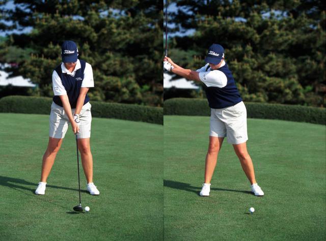 画像: 画像A 左手はストロング右手はややかぶせ気味に握るグリップのアドレス(左)から右の股関節の上に上体を乗せるようにテークバックをとる(右)