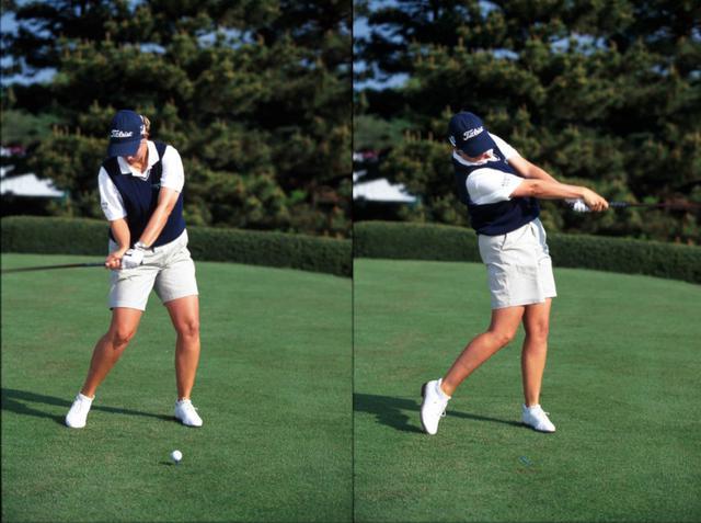 画像: 画像C ダウンで左手の甲は空を向くがアドレスからかぶせて握っいるのでフェースは開いていない(左)、右腕とシャフトが一直線になることでしっかりとボールをつかまえられている(右)