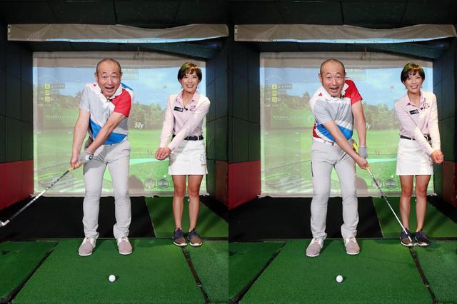 画像: 左腕とクラブを「1本の棒」とイメージして振ることで、手首の動きを抑える