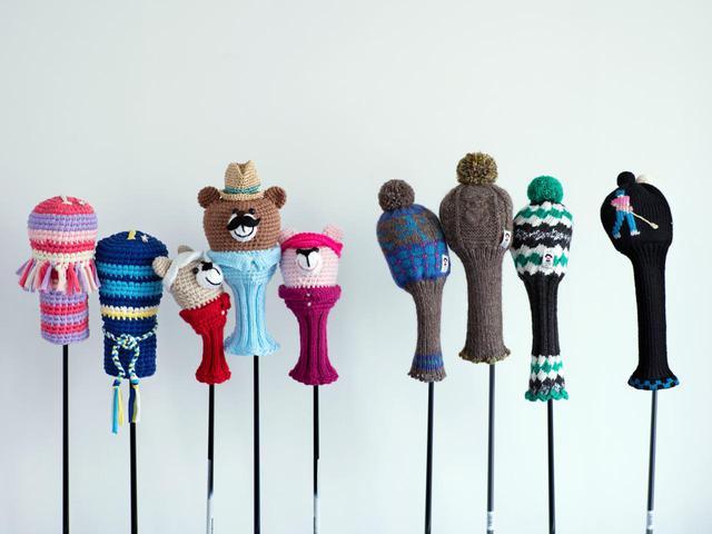 画像: 市販されるヘッドカバーの素材、デザインは非常に豊富。手編みのものも人気だ