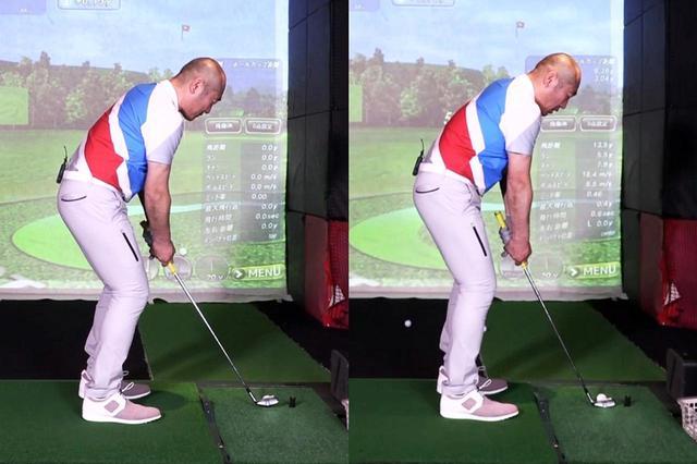 画像: ボールと体の距離を近づけ、ややハンドアップに構える