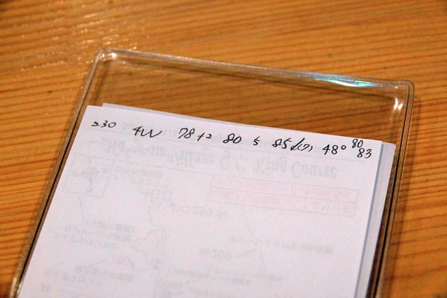 画像: 写真A:小澤がパー5ホールで実際に書いたコースメモ