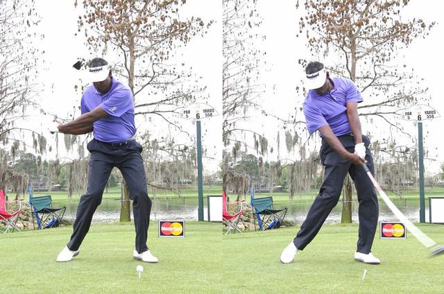 画像: 画像B 両わきが締まり腕が体から離れないことで回転力をロスなくクラブに伝えられる(写真は2013年のアーノルドパーマー招待 写真/大原裕子)