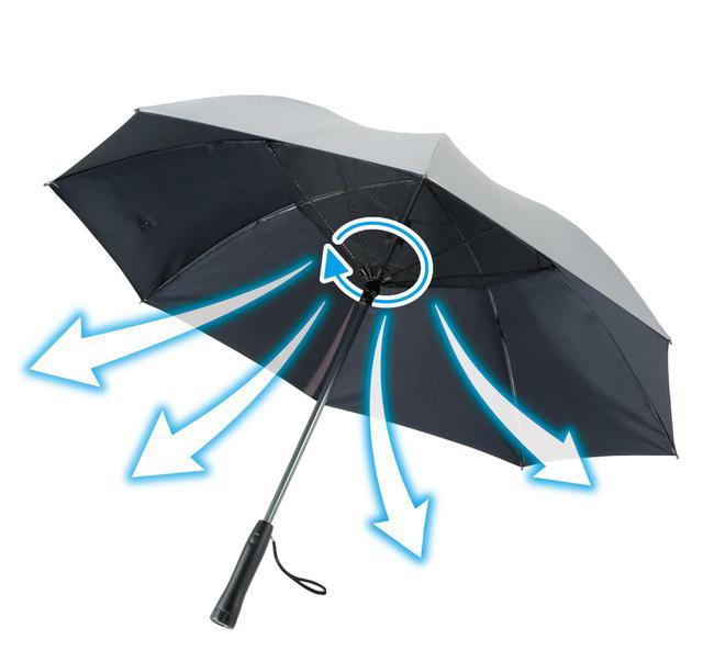 画像: つるやの「アクセル ファン付き銀バリ傘」