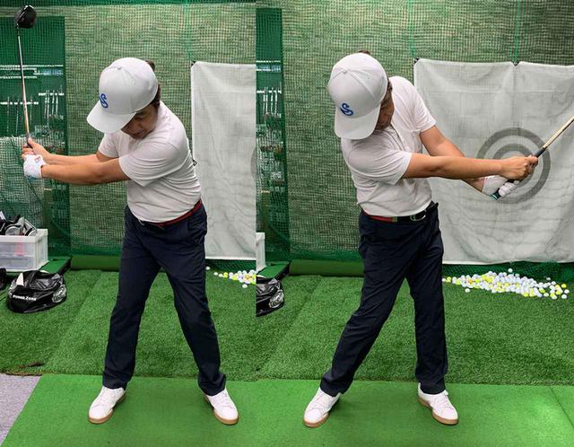 画像: ツバの向きをインパクトまで変えないイメージで打つも、頭を残そうとするあまり体の動きが止まってしまった