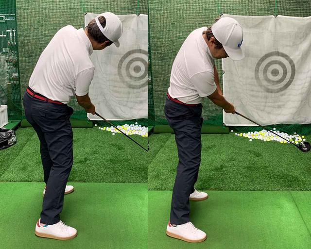 画像: 筆者が一番効果を実感したのがウラ技その1「左前のポケットと右後ろポケットにボールを入れておく」。下半身が開きすぎて降り遅れ気味になっていたのが(左)、腰の開き過ぎが抑えられて捕まった球が打てたという(右)