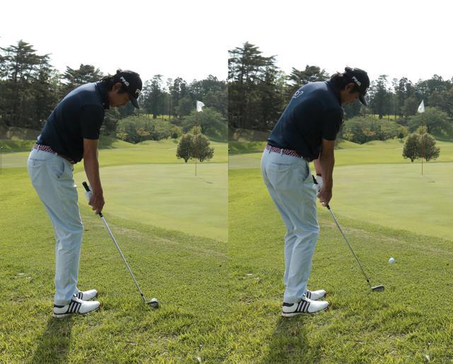 画像: ハンドアップでトゥ側に構えて打てば出球が強くなりすぎず距離感を合わせやすい