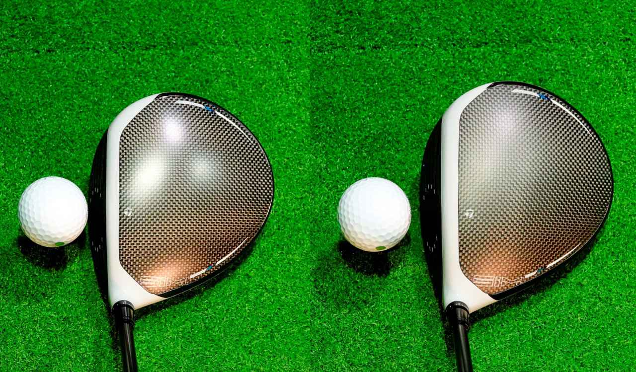 画像: 構えてみてもSIM MAX (左)よりもSIM MAX-D(右)のほうがディープフェースでボールを包み込むように見えると堀口