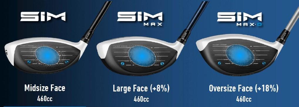 画像: SIM、SIM MAXとSIM MAX Dのフェースの大きさを比べると明らかにフェース面積は大きい