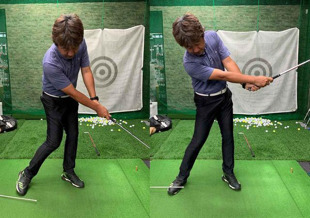 画像: 上体が左に突っ込んでしまうとスティックが落ちてしまう(左)。右足かかとを浮かさずに振り切ると、クラブと体が引っ張り合ってヘッドが走る(右)