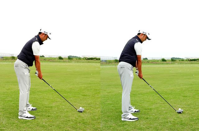 画像: 画像A 左が正しいアドレス。右が「当てたい」という意識から、ボールに近く右肩がボールに近づいてしまったアドレス。このアドレスからはナイスショットは生まれない