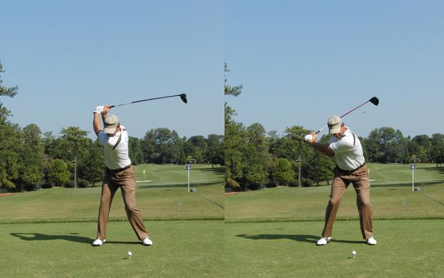 画像: 画像B:切り返しで左腰がターゲット方向にスライド。ついで、回転がはじまる(写真は2010年ツアー選手権 写真/岩井基剛)
