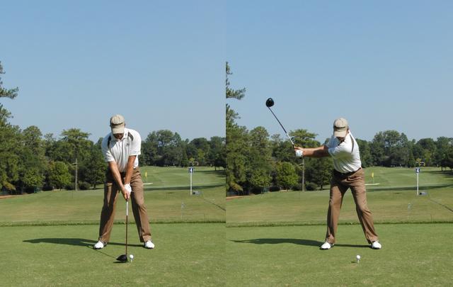 画像: 画像A:オーソドックスなスクェアグリップでバランスのいいアドレスから重心を右に移動させ右の股関節の上に胸を乗せるようにテークバックする(写真は2010年ツアー選手権 写真/岩井基剛)