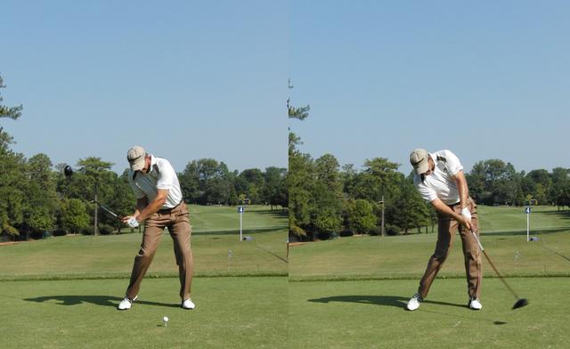 画像: 画像C:キャップの向き(目線)を一定にすることで右肩が突っ込まずにインサイドからボールをとらえられる(写真は2010年ツアー選手権 写真/岩井基剛)