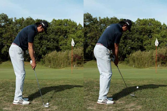 画像: ボールの近く立ち上腕とシャフトが一直線になるくらいハンドアップで構えることがポイント