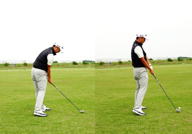 画像: 画像A:左が正しいインパクトで右は体が起き上がることでボールの頭を叩くチョロが出る症状