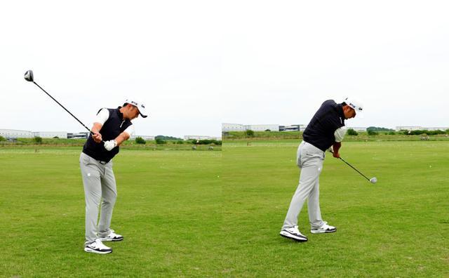 画像: 画像B:両手を離して握ることでフラットなスウィング軌道になる(画像左)、右足を後ろに引くように使うことで左足にしっかりと加重され腰が回ることで前傾角がキープできるという(画像右)