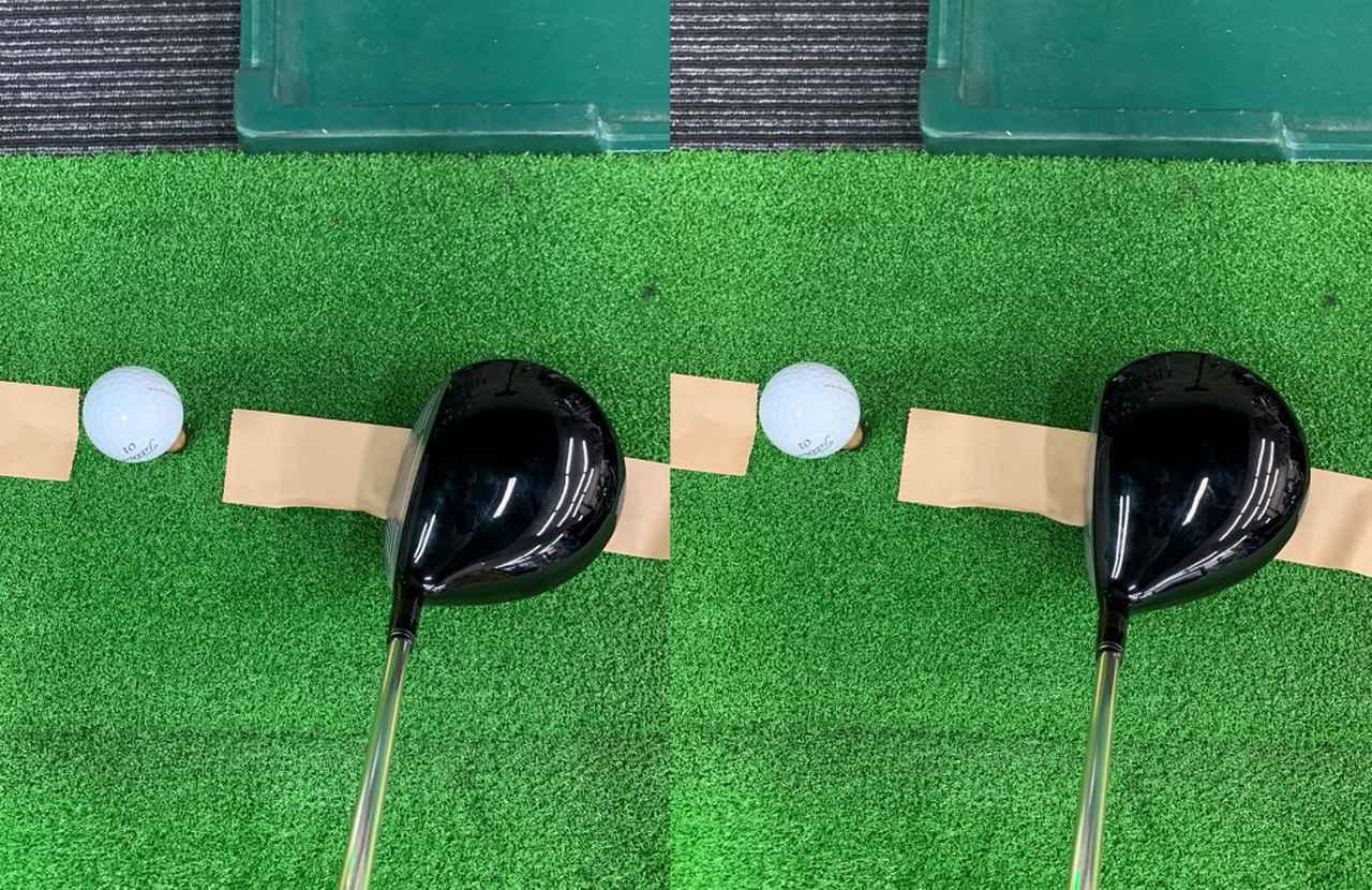 画像: 軌道に対してフェースがスクエアではボールは飛びません(左)。軌道に対してフェースがクローズだとボールが捕まって強い球が打てます(右)