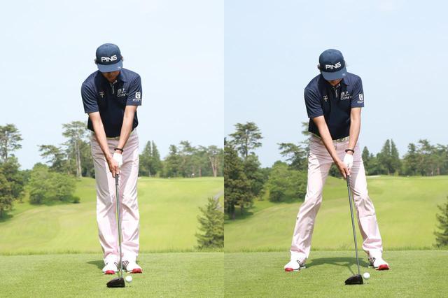 画像: ドライバーの場合は左足の開き幅は小さめ、右足は大きめだ(撮影/姉崎正)