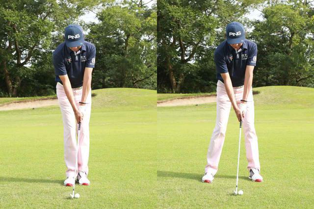 画像: アドレス完成時に両足は肩幅程度まで開き、ヘッドが体の中心に、ボールはそのすぐ左側にあるイメージだ(撮影/姉崎正)