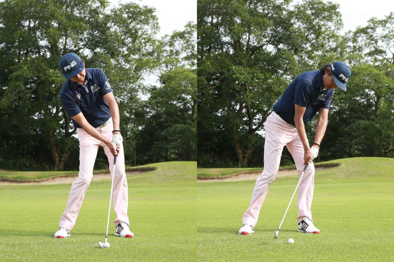画像: すくい打ち(左)や上から打ち込みすぎる(右)のはNG(撮影/姉崎正)
