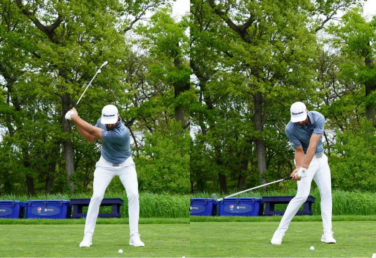 画像: フォワードプレスで作った手首とクラブの角度をスウィング中にキープすることでハンドファーストに当てやすくなす(写真は2019年の全米プロゴルフ選手権 写真/姉崎正)
