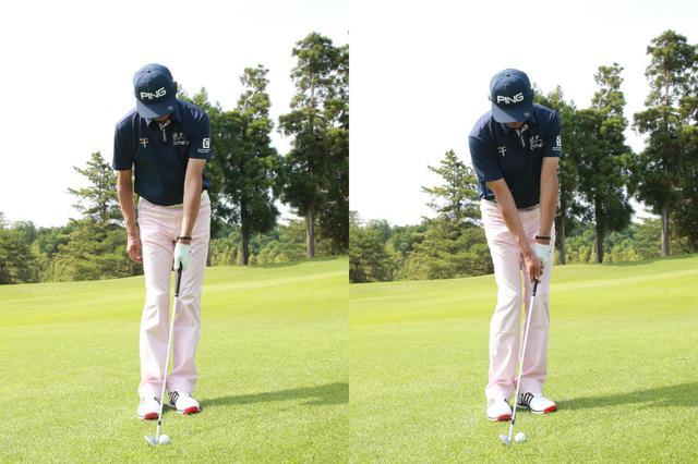 画像: 両足を靴一足ぶん程度開け、両つま先を30度ほど左へ向ける。ボールは右足つま先線上に置こう。シャフトと左腕が一直線になるよう構えるのがポイントだ(撮影/姉崎正)
