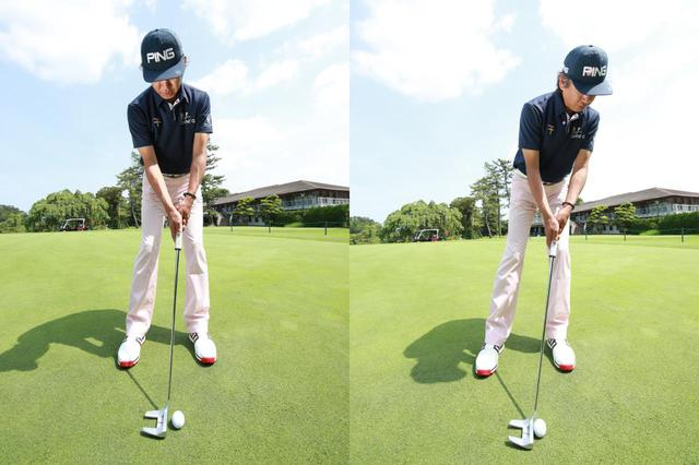 画像: 左目の真下をボール位置の目安にして頭とボールの位置関係を保ったままストロークしよう(左)。こうすれば視界に入ったカップを意識しすぎて体が突っ込む(右)こともない(撮影/姉崎正)