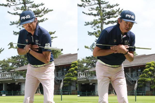 画像: 肩を横に回してストロークすると、フェースの向きが変わり、方向性が安定しない(撮影/姉崎正)
