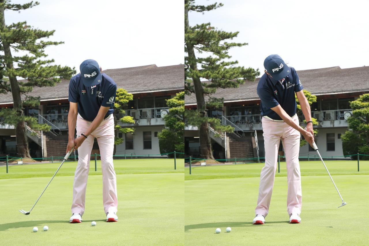 画像: ロングパットでは振り子のイメージで、バックスウィングとフォローの幅が同じになるように振ろう(撮影/姉崎正)