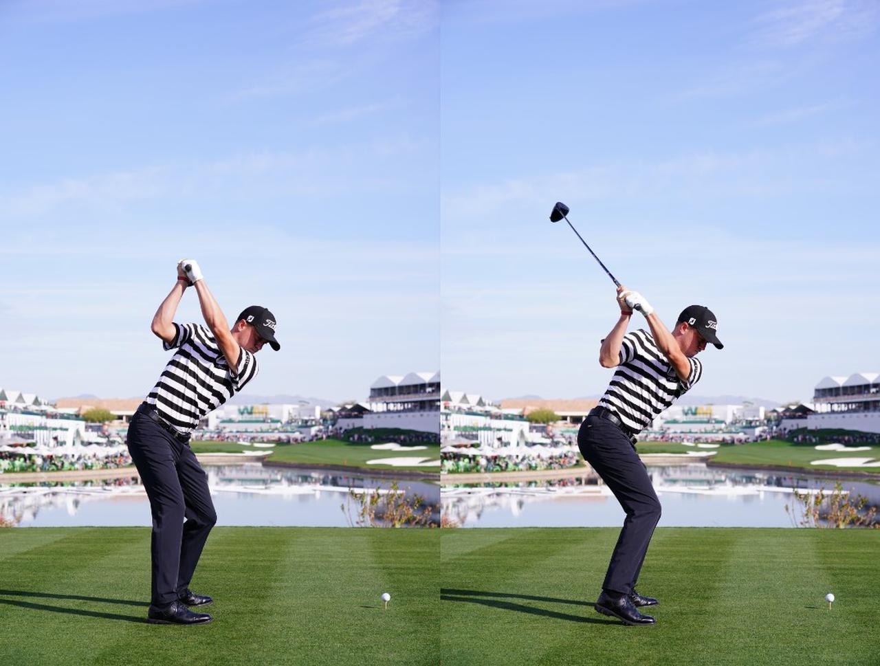 画像: 画像A:トップで飛球線と平行になったクラブの向き(左)が切り返しで飛球線よりも左を向き左手首も手のひら側に折れる(写真は2019年フェニックスオープン 写真/姉崎正)