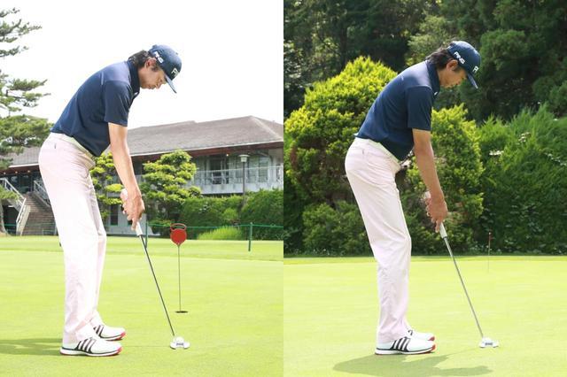 画像: ロングパットでは、ショートパットのとき(左)よりもわずかに体を起こして構えよう(右)(撮影/姉崎正)