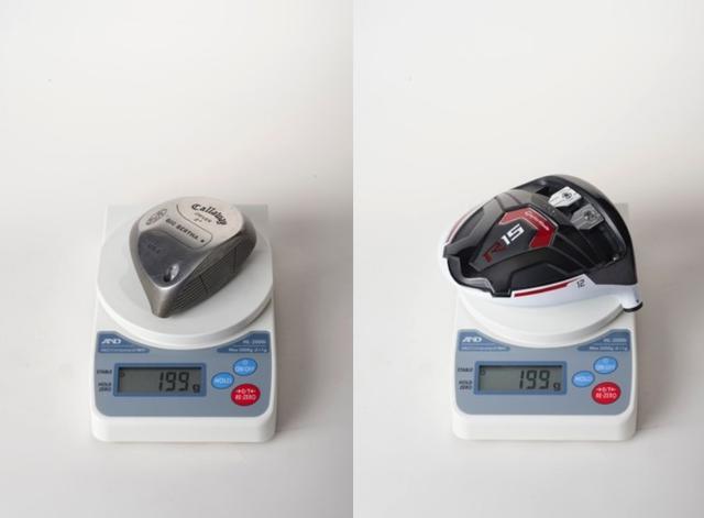 画像: 画像B 貫通ホーゼルを採用し、ネック分の重量を大型化に使った「ビッグバーサメタル」。このモデルからヘッドの大型化が始まった(左)。軽比重なチタンやカーボンをボディに採用し、高比重金属を動かせるウェイトに使うのが現代の最新構造。それでもヘッド重量は小さなメタルヘッドと同じなのだ(右)