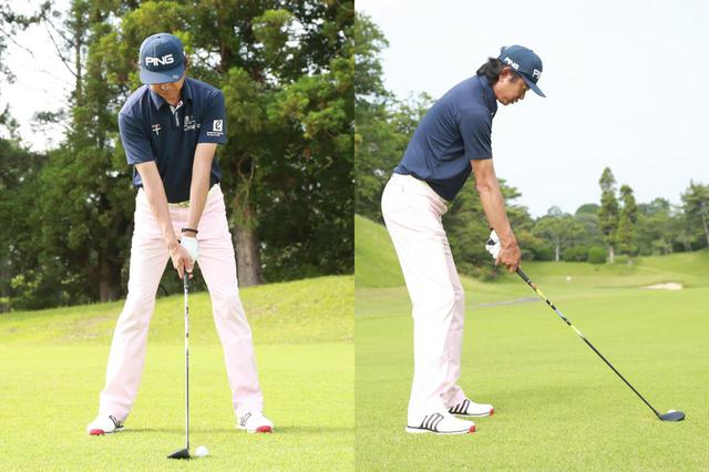 画像: スタンス幅は肩幅程度。ボールは体の衷心よりもやや左寄りに置こう(撮影/姉崎正)
