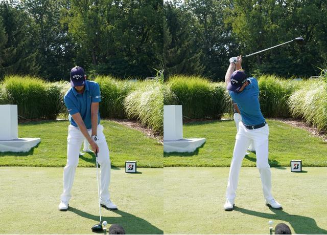 画像: 画像A:左手はストロング、右手はかぶせて握るアドレス(左)から右腰を引くように回し、捻転の深いトップをつくる(写真は2018年WGCブリヂストン招待 写真/姉崎正)