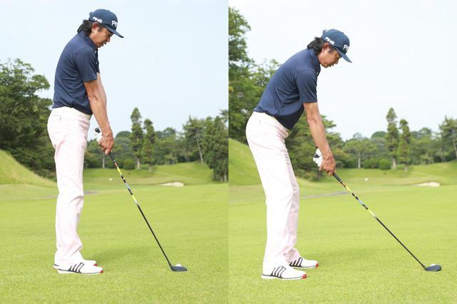 画像: 写真左のようにボールとの距離が近すぎるとダウンブロー軌道になってしまう。右のように正しくソールし、ライ角通りにクラブを構えよう(撮影/姉崎正)