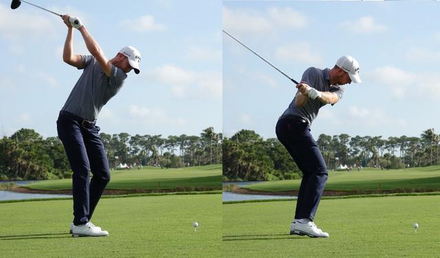 画像: 手元が体から遠くシャフトの向きはターゲットよりも左を向くトップ(左)、切り返しで下半身の回転を大きく使いから部とボール結んだ斜めの線がフラットになることが特徴的(写真は2018年ホンダクラシック)