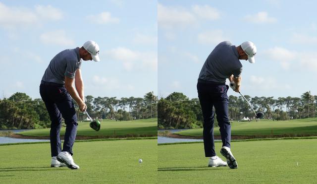 画像: 手元が低く浅い入射角で下りてくる(左)、インパクトでは腰がターゲットを向くくらい大きく回転させている(写真は2018年ホンダクラシック)