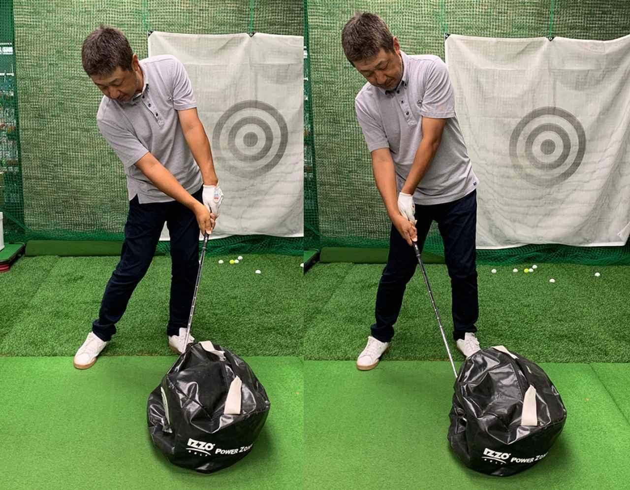 画像: 強く叩こうとすると自然とハンドファーストのインパクトになる(左)。ボールを上げようとする動きでは強く叩けない(右)