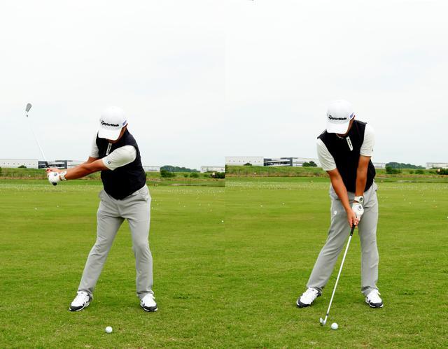 画像: 切り返しでは左ポケットを引くように腰を動かし(左)、そのまま左腰を後ろに引くように動かし続けることで