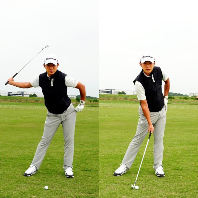 画像: 画像B 右手一本でクラブを握り左手で左のポケットを後ろに引くように動かすと切り返し(左)、そのまま後ろに引き続けることでクラブをインパクトまで引き下ろす(右)