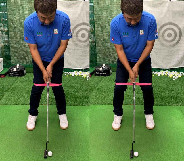 画像: ひざのあたりをゴムで縛って(左)、ゴムが伸びるようにひざを外側に向けて開いてアドレスします(右)