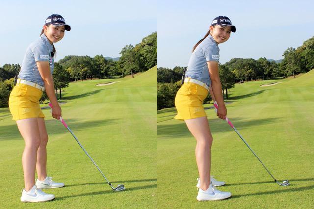 画像: 目標に対してスクェア(左)ではなく、左を向いたオープンスタンス(右)で構えよう