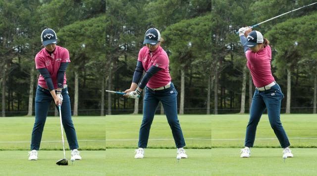 画像: 始動の段階で背中・肩が動き始め、トップでは深い捻転が作られている