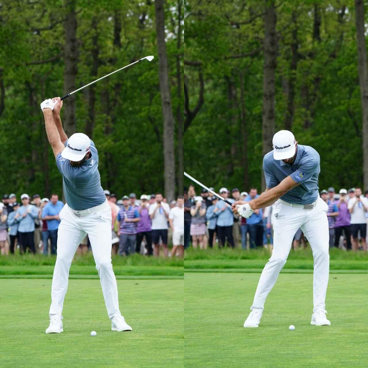 画像: 画像A 手の位置が高く体から遠いアップライトなトップから体との距離が変わらずに切り返すことで体の回転に沿って動くことからクラブの軌道が安定する(写真は2019年の全米オープン 写真/姉崎正)