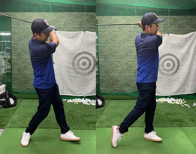 画像: 普段は右足体重のカッコ悪いフィニッシュ(写真左)ですが、かかとを上げたままショットをすると、右足で地面を蹴るという感覚が分かって、フィニッシュもしっかりと左足に乗った形に(写真右)